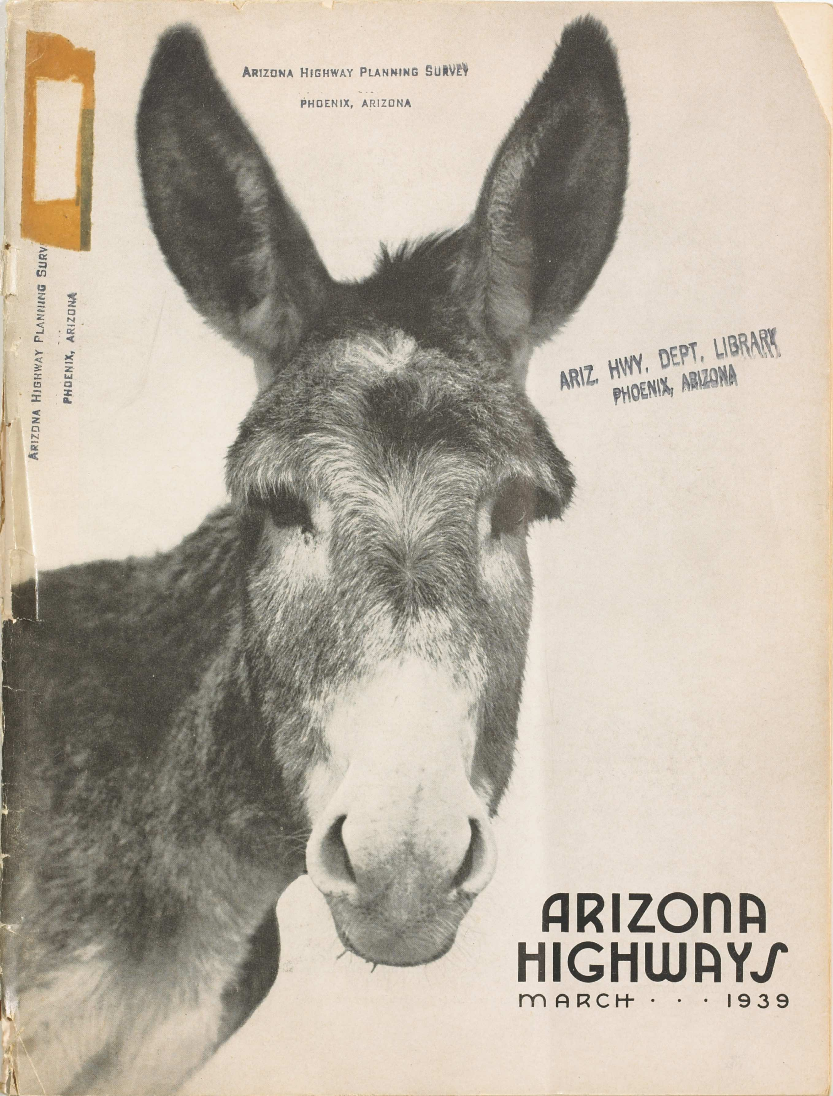 Arizona Highways March 1939 cover