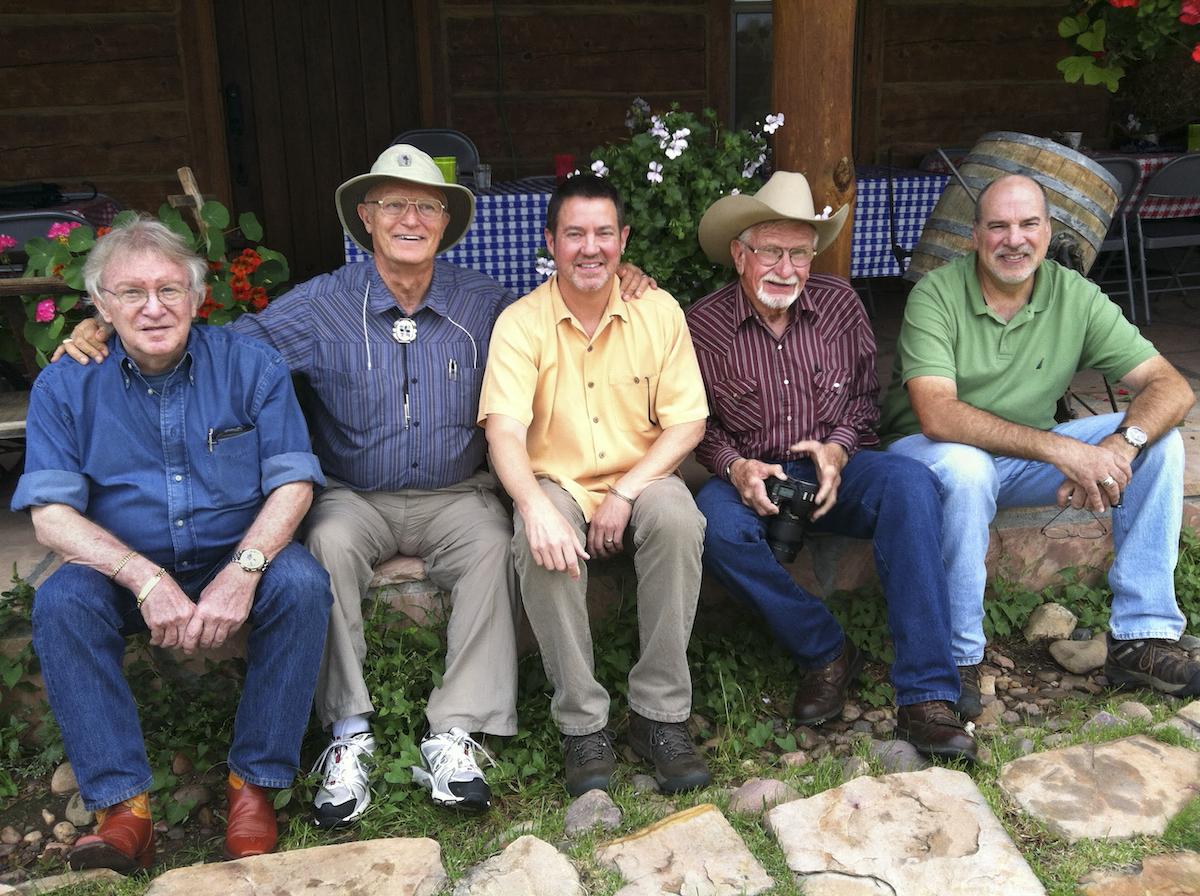 J. Peter Mortimer, Wes Holden, Peter Ensenberger, Jerry Jacka and Jeff Kida on Jacka's porch