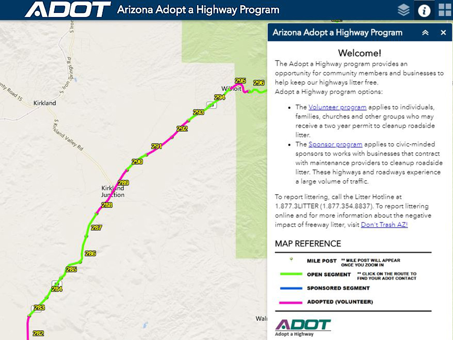 ADOT Makes Adopt-a-Highway Program Easier on indot state map, tdot state map, caltrans state map,