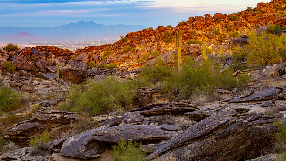 A viewpoint along the Hidden Valley Trail offers a view of Phoenix at sunset.   Joel Hazelton