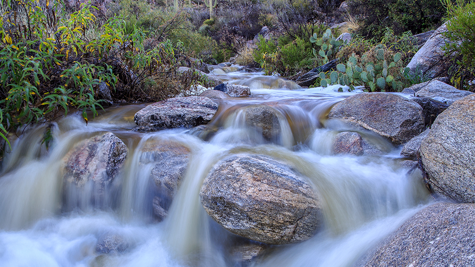 Pima Creek tumbles over rocks along the Pima Canyon Trail. | Jeff Maltzman