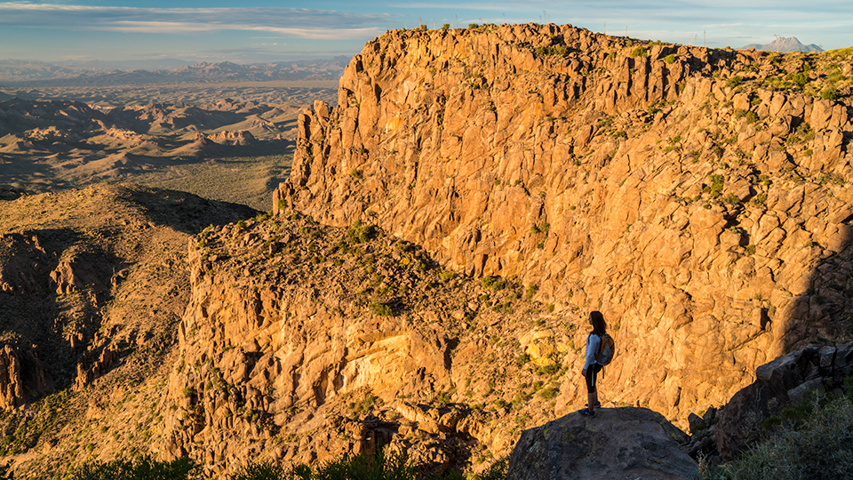 Jaymee Bohannon admires the view from near the top of the Flatiron in the Superstition Mountains. | Laurence Parent