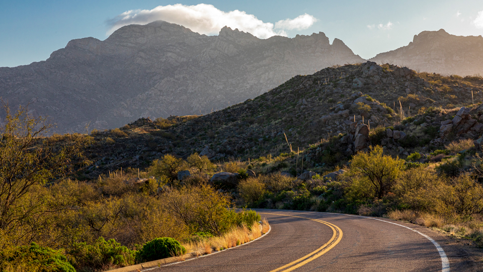 State Route 386 curves toward the jagged buttes of the Quinlan Mountains. | Jeff Maltzman