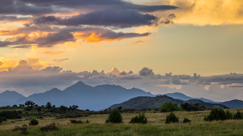 The Canelo Hills West segment of the Arizona Trail offers a sunset view of mountains across the border in Mexico. | Joel Hazelton