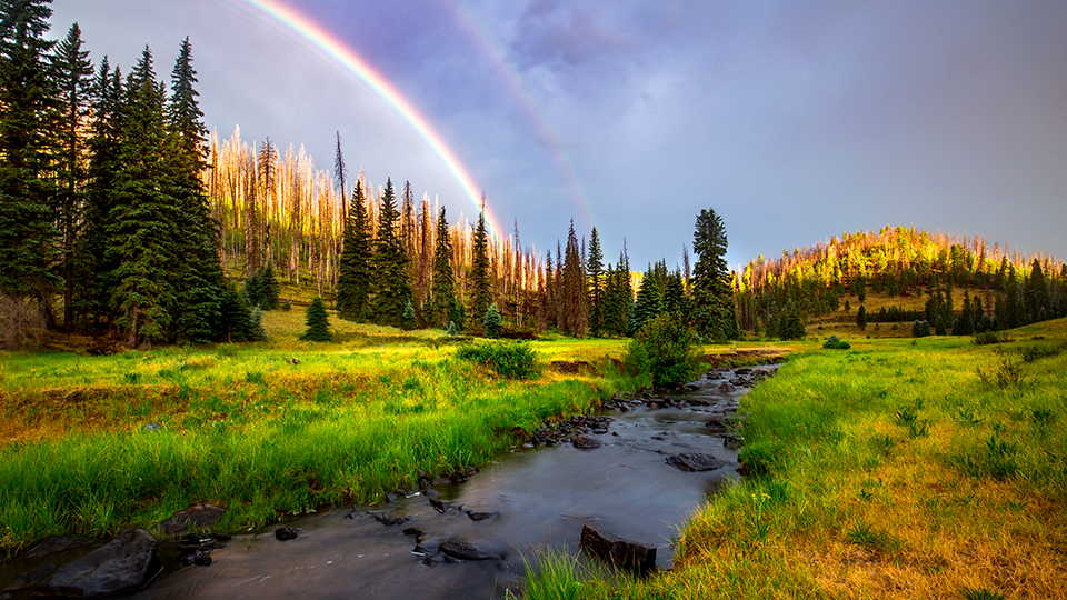 A rainbow forms at sunrise over the West Fork of the Black River along the Thompson Trail. | Joel Hazelton