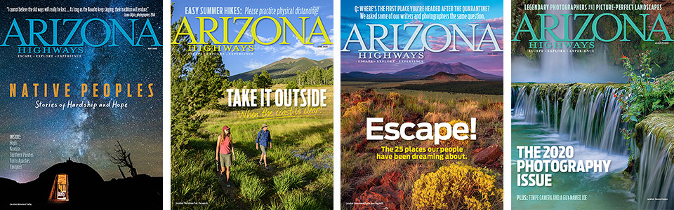 May, June, July and August 2020 covers of Arizona Highways magazine