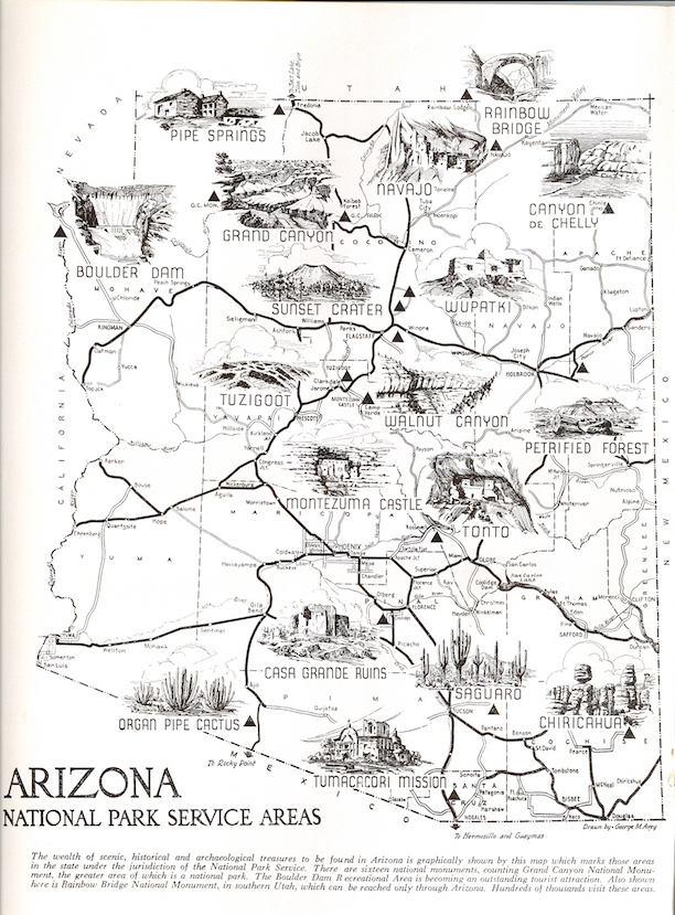 National Parks Arizona Map.From The Archives George Avey S National Parks Map