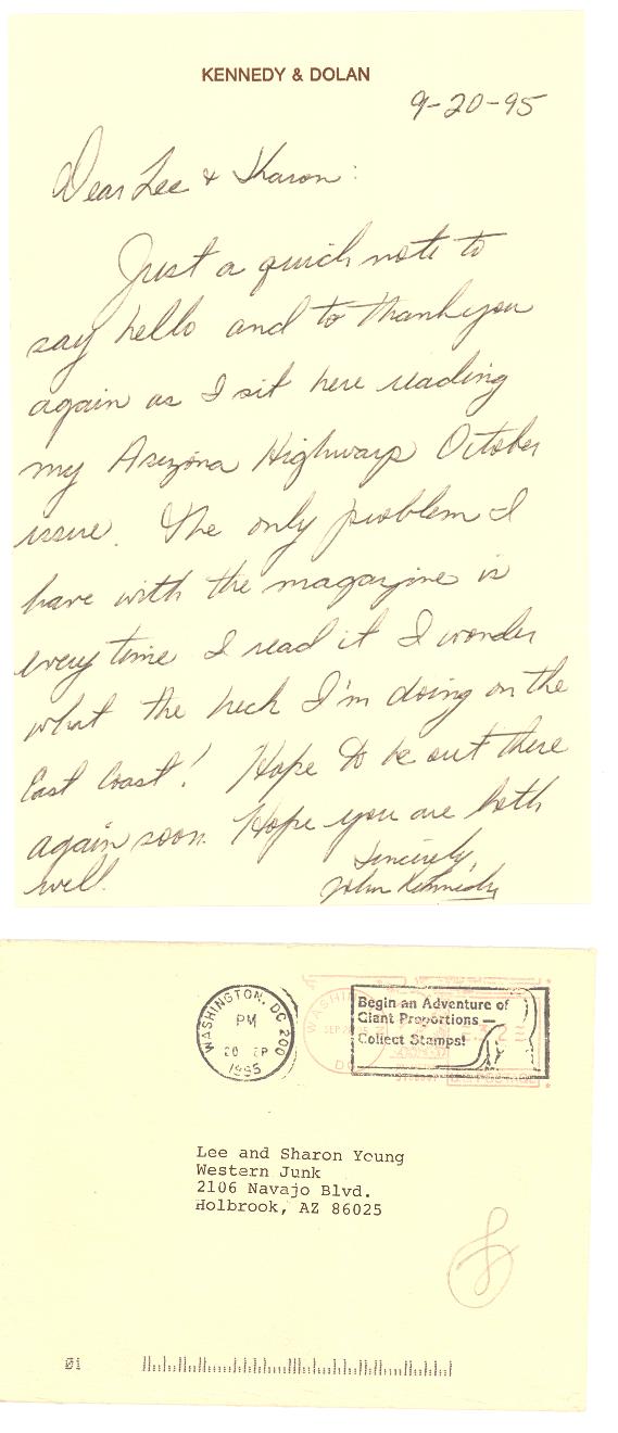 Photo of letter from JFK, Jr.