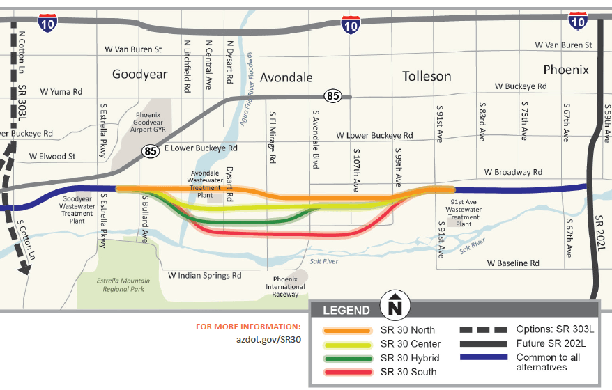 Map Of Loop 303 Arizona.Adot Plans Meeting On Proposed State Route 30 In West Phoenix