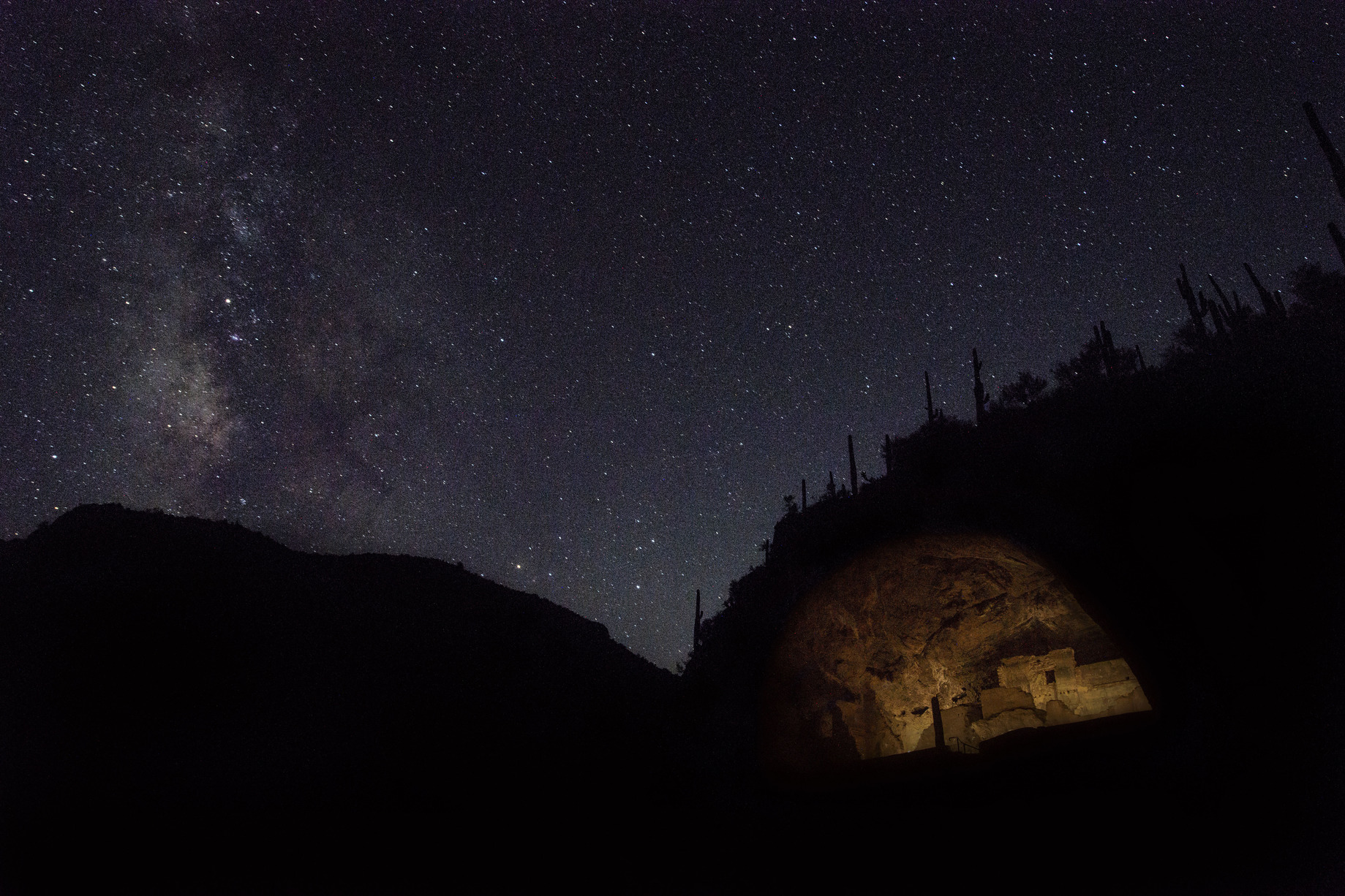 Tonto National Monument at night